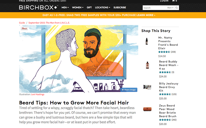Birchbox's beauty web design