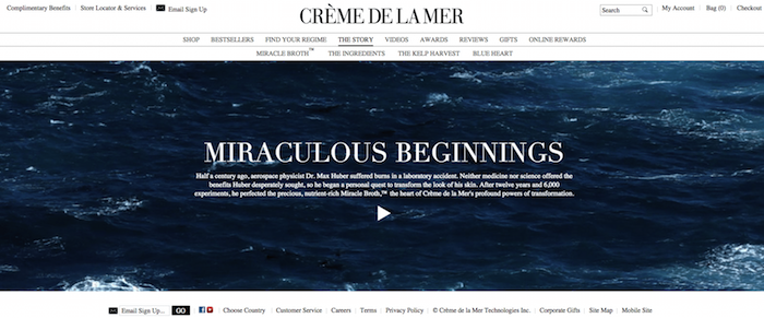 Creme de la Mer's beauty web design